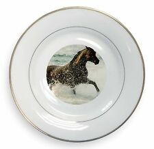 Black Horse in Sea Gold Rim Plate in Gift Box Christmas Present, AH-2PL
