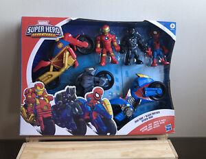 Marvel Super Hero Adventures Iron Man Black Panther & Spider-Man Playskool NEW!
