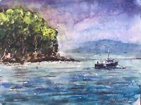 "Watercolor Original Painting ""Seascape"" 12"" x 9""  NOT A PRINT"