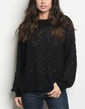 Sexy Soft Semi Sheer Black Long Sleeve Sweater Size Medium