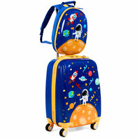 """18'' Carry On Suitcase Wheels & 12""""Travel Backpack Spaceman 2PC Kids Luggage Set"""