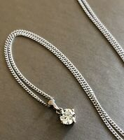 Solid 18ct White Gold Solitaire Diamond Necklace 0.50ct Pendant Chain Half Carat