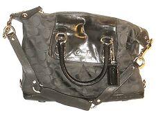 Coach No F15443 Signature Ashley Sateen Satchel Handbag Purse Shoulder Bag Black