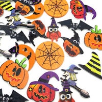 50/100Pcs Mix Halloween pumpkin 2 Holes Clothes Wood Sewing Button WB468