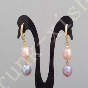Trendy AAAA Baroque South Sea Multi-color Pearl Dangle Earrings 14k Gold P Hook