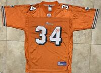 Rare Mens Size Medium Orange Miami Dolphins #34 Ricky Williams Jersey By Reebok