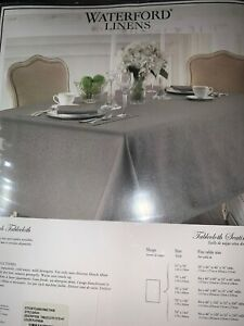 """Waterford Linens Sarah 70"""" x 144"""" Tablecloth Luxury Linen PLATINUM Taupe Gray"""