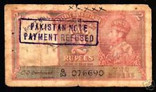 PAKISTAN INDIA 2 RUPEES P1A 1947 KING GEORGE VI LION *PAYMENT REFUSED* RARE NOTE
