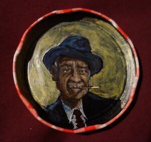 BUNK JOHNSON, Jam Jar Lid Portrait, New Orleans Jazz Outsider Folk Art PETER ORR