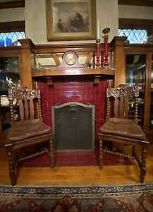 """Antique Oak Dining Chairs Spool Turned Legs Sculpted """"North Wind"""" Face Carving"""
