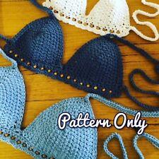 DIY CROCHET BIKINI TOP PATTERN Halter Crop Top Festival Bra Paper Patterns 0127