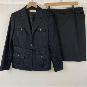 "Tahari ASL ""Denim"" Navy Blue Belted Blazer & Skirt Suit Set Women's Size 14"