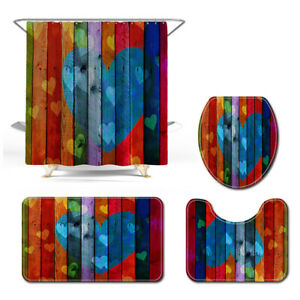 Rainbow Color Bathroom LOVE Heart Pattern Toilet Cover Square Shower Curtain Set