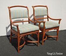 Pair Vintage Mid Century Modern Bamboo Accent Chairs Leather Straps Italy #2