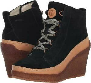 Merrell Women's Tremblant Wedge Lace Up Wedge Boot, Black, Size Women 9.5M NEW