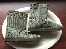 "UGG Classic Short Jimmy Choo Kaia Studded Zebra Boot SIZE 6 GREEN 9"" HIGH SUEDE"