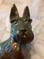 VINTAGE SCOTTISH TERRIER SCOTTIE BOOKENDS SOLID BRASS WHITE MARBLE ONYX BASE