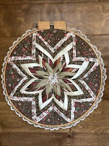 Handmade artisan framed quilted star wall hanging
