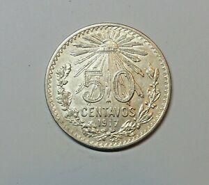MEXICO : SILVER 50 CENT 1917 . 0.800 SILVER. KM 445