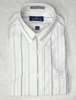 Mens 15 Short Sleeve Dress Shirt Van Heusen White Blue Striped NEW NWT