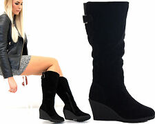 Zip Wedge Knee High Boots Faux Suede Upper Shoes for Women