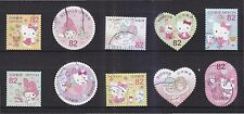 JAPAN 2015 GREETINGS HELLO KITTY (NATIONAL EDITION) 82 YEN COMP. 10 STAMPS USED