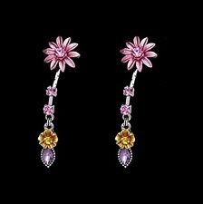 Boucles d'oreilles pendante argenté, strass, fleur marguerite Bijoux fantaisie