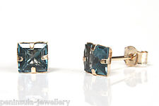 9ct Gold London Blue Topaz Studs earrings Gift Boxed Made in UK Christmas Xmas