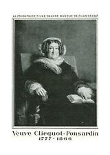 Publicité ancienne champagne Vve Clicquot Ponsardin 1935 issue de magazine