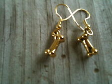 Dog Bone 3D Gold Plated Lead Free Pewter Earrings