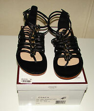 NIB Coach Gillian black nappa leather sandals shoes 7.5 Bloomingdale's