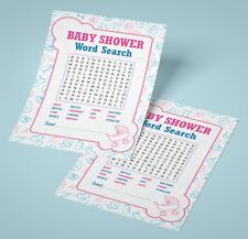 Baby Shower Word Search Game 16 A6 Party Cards - Boy Girl Neutral Unisex Fun