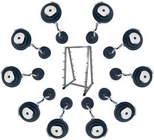 10 x Commercial Gym Fixed Weight Chromed EZ Curl Bars & Storage Rack,10-45KG