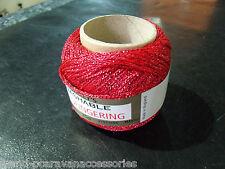 Twilleys GOLDFINGERING. 38 Red   25g ball.METALLIC CROCHET & KNITTING YARN