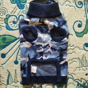 NWT S/M Blue Camo Sweater Dog Sweater Casual Canine