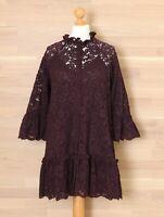 H&M Women's M Burgundy Red Lace Tiered Shirt Dress w Slip Lining