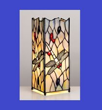 TIFFANY STYLE DRAGONFLY SQUARE MOSAIC STAINED GLASS VINTAGE TABLE LAMP