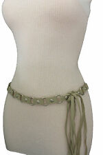 Women Ivory Fashion Tie Belt Hip High Waist Silver Metal Rings Faux Suede S M