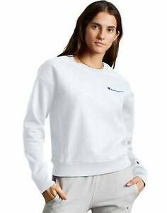 Women's Champion Life Reverse Weave Crew Sweatshirt Vintage Script Logo Fleece