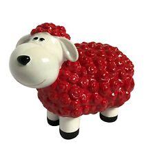 Gartenfiguren lustiges Schaf - Dekofigur Tiere groß wetterfest Gartendeko - Rot