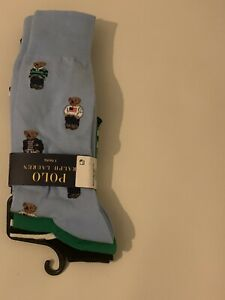 MENS POLO RALPH LAUREN 3 PACK TEDDY BEAR SOCKS BNWT
