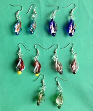 Handmade Murano Lampwork Glass Mix Color Women's spiral Earrings Hot gift