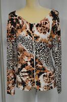 MOTIVE Women's Full Zip Long Sleeve Animal Print Cardigan - Size Small