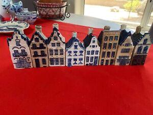 """Lot of 8 Vintage  Delft Blue Dutch KLM Empty Liquor Bottle Houses 3""""- 3/1/2"""""""