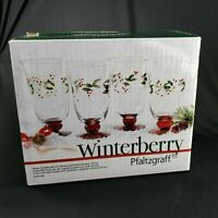 Pfaltzgraff Christmas Winterberry Set of 4 Etched Water Goblets 14 Ounce New Box