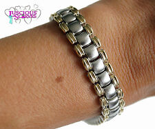 MENS SUPER STRONG BIO MAGNETIC GOLD & SILVER ALLOY HEALING BRACELET PAIN RELIEF