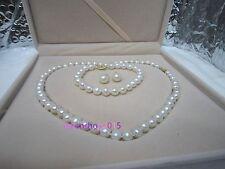 "AAAAA18""9-8 mm natural south sea white pearl necklace bracelet earrings set 14K"