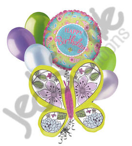 7 pc Mosaic Floral Butterfly Happy Birthday Balloon Bouquet Party Decoration