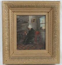 Antique 1886 Oil Painting Ornate Frame Signed Interior Scene Old Woman Knitting