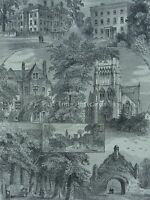 London Stoke Newington VIEWS IN STOKE NEWINGTON Original Victorian Print 1878